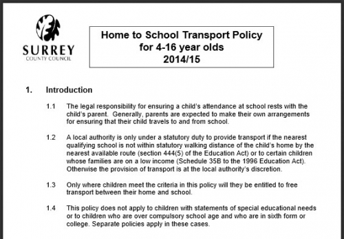 Surrey's School Transport Policy